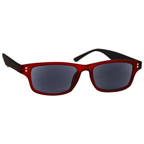UV Reader Gummiertes Rot Schwarz Sonnen-Leser Lesebrille UV400 Herren Frauen UVSR033 Dioptrien +1,00