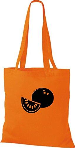 ShirtInStyle Stoffbeutel Baumwolltasche Dein Lieblings Obst und Gemüse Honigmelone Farbe Pink orange