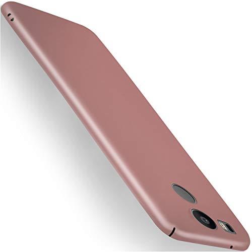 moex LG Google Nexus 5X | Hülle Rose-Gold Alpha Back-Cover TPU Schutzhülle Dünn Handyhülle für LG Google Nexus 5X Case Ultra-Slim Thin Skin Handy Schutz Rückseite