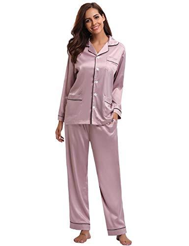 Abollria Femmes de Pyjama Satin 2 Pcs Vêtement de Nuit Soie Classique Ensemble de Pyjama, Rose, XL