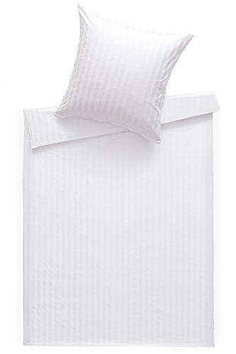 Bettwaesche-mit-Stil Mako Satin Damast Bettwäsche Streifen 20mm weiß in vielen Größen