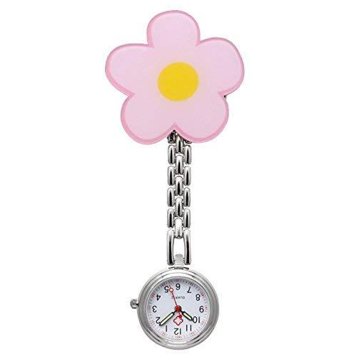 JSDDE Uhren,Krankenschwester FOB Uhr Pflegeruhr Pulsuhr Ketteuhr Schwesternuhr Quarz Taschenuhr, Blume