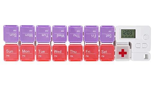 Mogokoyo Digital Tablettenbox 7 Tage Morgens Abends, Pillendose mit Wecker Alarmfunktion, Tragbar 14 Fächer Pillenbox Medikamentenbox mit Schutzhülle (Rot und Lila)