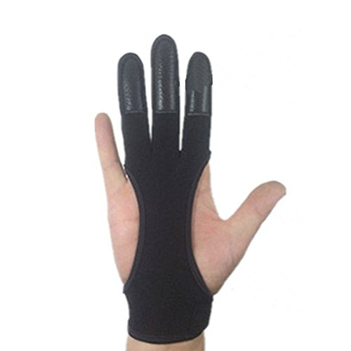 QEES Qualität Echtes Leder Traditionellen Bogenschießen Handschuhe Voller TIPP Schießen Handschuhe HYSJST01 (L) -