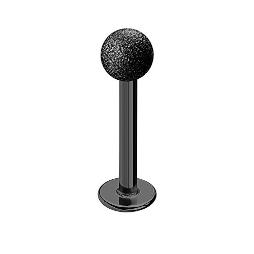 Treuheld | LABRET Piercing SCHWARZ - MATT - Diamant-Optik - 9 Größen & Längen - sandgestrahlte Kugel zum Schrauben - Lippen-Piercing, Intim-Piercing, ZungenPiercing [02.] - 1.2 x 8 mm (Kugel: 3mm)