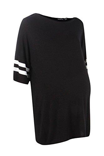 Noir Femmes Olivia T-shirt De Baseball De Grossesse Surdimensionné Noir