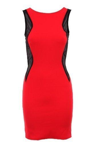 Sapphire femmes sans manches pour femme Empiècement en maille Robe Bodycon effet amincissant Femme Rouge