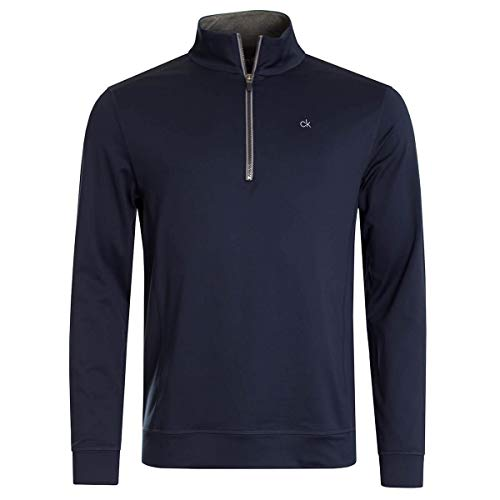 Calvin Klein Mens 1/4 Zip Moisture Wicking Galaxy Sweater