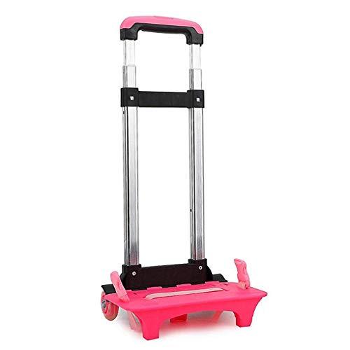 Rucksack Trolley - Rollwagen Roll Rädern für Kinder Kinder Schultaschen, Gepäckwagen Travel Trolley mit Schnallen Straps Folding (Rose,2 Wheels)
