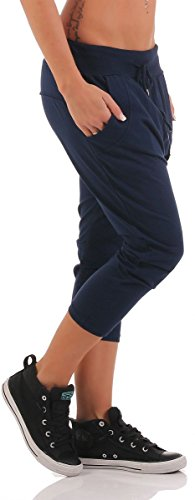 malito Damen kurze Hose mit Knopfleiste | Chino Hose in Unifarben | Baggy zum Tanzen | Sweatpants �?Trainingshose 8015 Dunkelblau