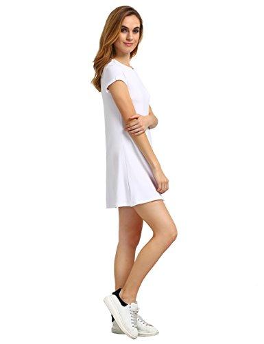 ROMWE Damen Jersey Kleid Kurzarm Hundhals Sommer Kleider Weiß