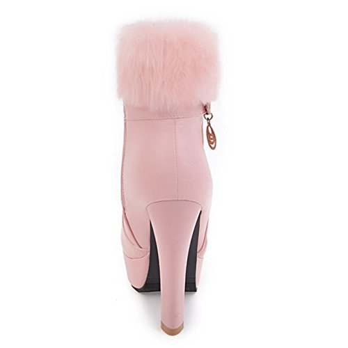 RAZAMAZA Femmes Bottines De Cheville Plateforme Talon Haut pink