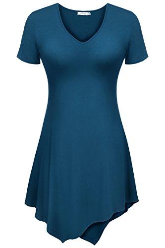 CRAVOG Damen Minikleid Kleider Asymmetrische A-Linie Kleid Partykleid Schwarz