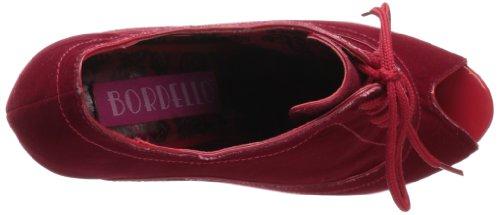 Bordello InStyle-Schnürpumps Wink-01 burgundy velvet