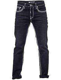 Rusty Neal Herren Jeans Hose Schwarz Dicke naht Weiß Stretch Jeanshose  Gerades Bein -7 8224e45ae3