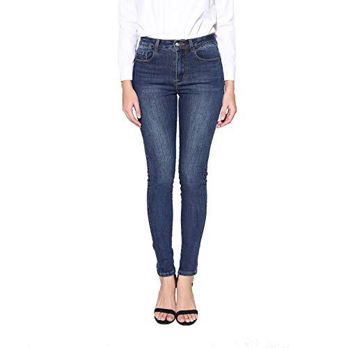 Damen High Waist Skinny Jeanshose Stretch Slim Fit Enge Denim Hosen Basic Freizeit Bleistift Röhrenjeans (XL/34, Dunkel Blau) (Frauen Bleistift-hosen Für Arbeiten,)