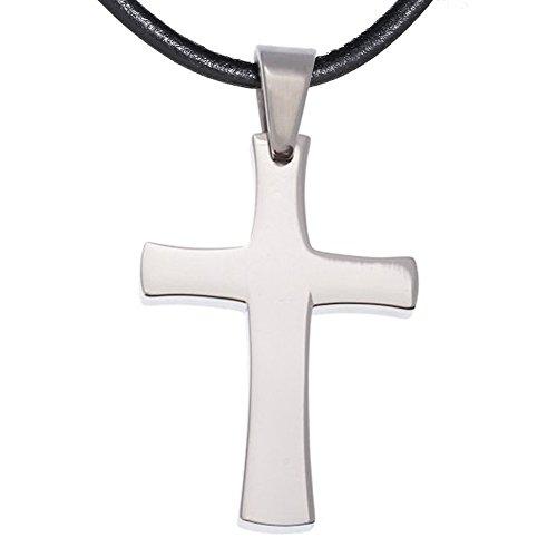 Gothic-rosenkranz-halskette (DonDon Kautschuk Halskette mit Edelstahl Kreuz Anhänger in einem schwarzen Samtbeutel)