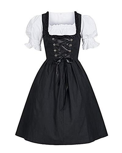 Guiran Damen Mittelalter Kleid Retro Kurzarm Magd Kostüme Kleider Schwarz M