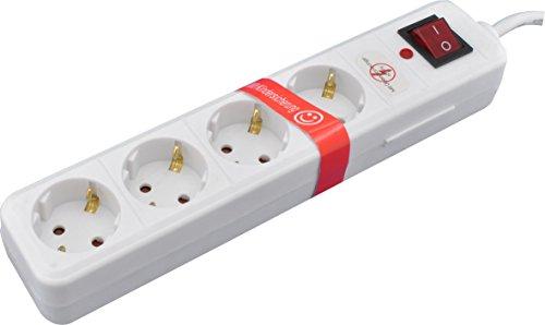SKT 4-fach Steckdosenleiste mit Überspannungsschutz, Netz-Filter LED Kindersicherung Schalter, MD422