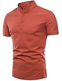 f28398dafb65b Poonkuos Camiseta de Cuello Alto para Hombre - Camisa Polo de Lino de  Algodón Suave Básico Clásico Color Puro…