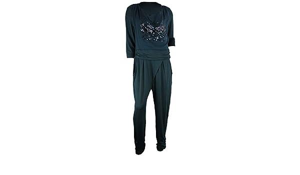 9ecd30d5b48b81 BIBA Damen Jumpsuit Overall grün Dark Petrol Pailletten (42)  Amazon.de   Bekleidung