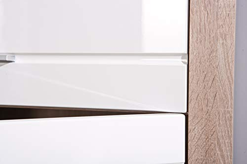 Links 19500380 Kommode weiß hochglanz Highboard Wohnzimmer Wohnkommode Sonoma Eiche 4-türig NEU - 2