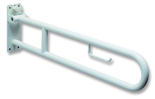 Negrari–BT0034Haltegriff faltbar in der Wand für Behinderte mit Toilettenpapier, Stahl lackiert, Weiß, 85cm