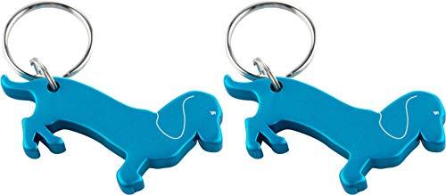 munkees 2 x Schlüsselanhänger Dackel-Anhänger Hunde-Figur Flaschenöffner, Blau, Doppelpack, 345269 -