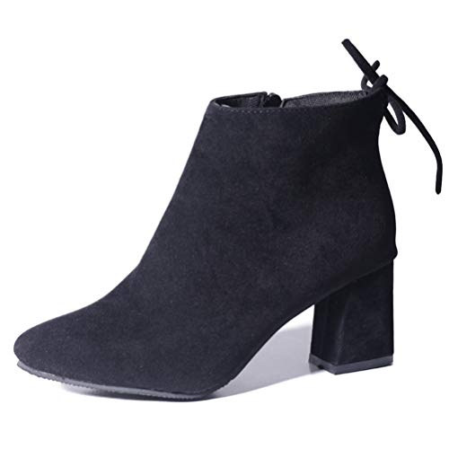 Frauen Frühlingsherbst Knöchel-Stiefel Wildleder High Heels Reißverschlusspumpen Chunky dicken Fersenschuhen lässige Chelsea Stiefel -