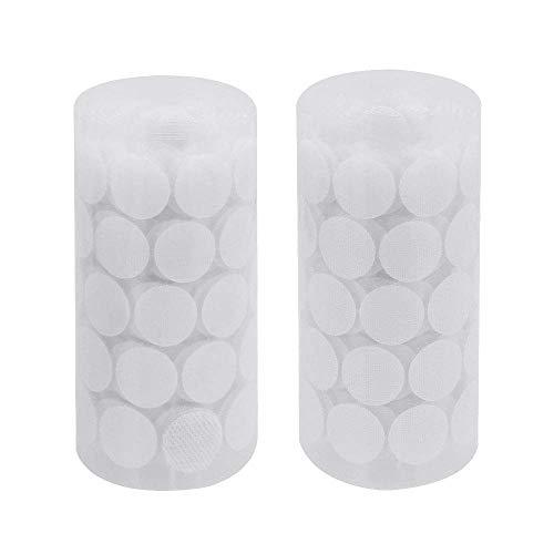 CODIRATO 250 Paia Adesivi in Velcro in Nylon Rotondo Nastro Velcro Biadesivo 20mm Monete Appiccicoso Gancio Anello per DIY (Bianco)