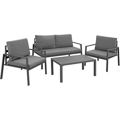 tectake 403202 salottino da giardino alluminio, 2 poltrone 1 divano 1 tavolo, resistente alle intemperie, cuscini idrorepellenti, grigio
