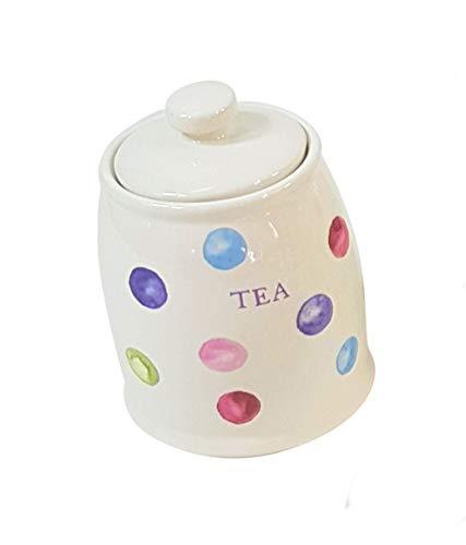 Bedruckt Flecken Punkte Blau Grün Weiß Runde Keramik Tee Aufbewahrung Kanister Glas -