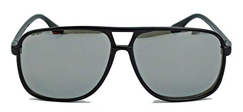 amashades Vintage Nerdies Old School Brille für Damen o Herren oversized rechteckig 80er Jahre Brillengestell als Sonnenbrille oder Nerdbrille mit Klarglas F75 (Schwarz/Silber verspiegelt)