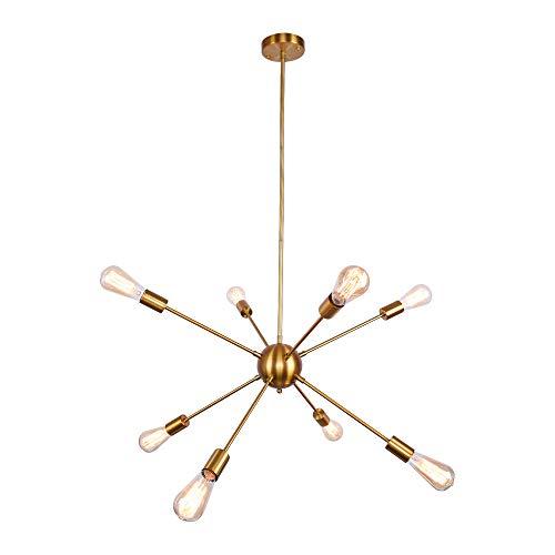 OYI Sputnik Lampadario Modern lusso Lampada a sospensione in color oro metallo con 8 prese di luce per soggiorno Camera da letto Loft Studio (Senza lampadina)