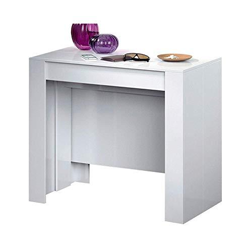 Tavolo Consolle Allungabile Oslo, Design Moderno Elegante, Tavolo per Casa Ufficio, Tavolo 10 Posti Salvaspazio Multiposizione, Allungabile Fino A 2.37 Metri 78 x 51 x 90 cm, Bianco Lucido