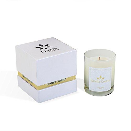 Vanilla Cream Handgefertigte Duftkerze in Glass von Fleur Parfümerie / 100% Naturwachs / Aromatherapie / Brenndauer ca. 48 Std.