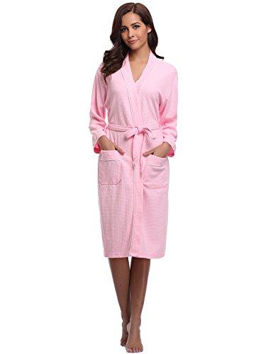le Sommer Bademantel Leicht Mantel Morgenmantel V Kragen Waffel Typ Saunamantel Frottee rosa XL ()