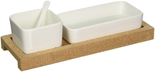Torre & Tagus 910586 Evora Cork and Ceramic Bowl with Spoon on Base, White, Set of 2 by Torre & Tagus Cork Bowl