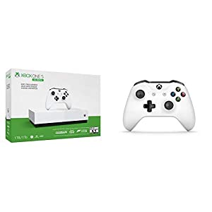 Microsoft Xbox One S 1TB – All Digital Edition [Konsole ohne optisches Laufwerk] +  Microsoft Xbox Wireless Controller, Weiß