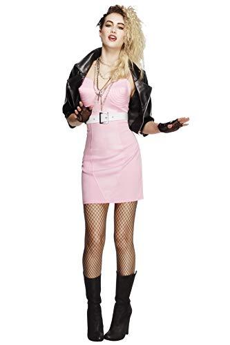 Fever, Damen 80er Jahre Rock Diva Kostüm, Kleid, Jacke, Gürtel, Halskette und Stirnband, Größe: M, (Madonna Kostüme)
