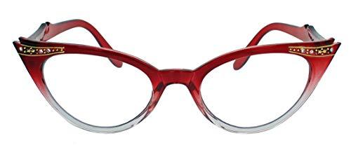 50er Jahre Fashion Brille im Vintage Look Brillengestell Nerdbrille mit Strass Applikation Klarglas Glitzersteine KK37 (Rot Ombre)