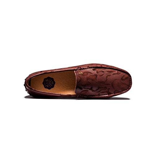OPP Chaussures de Ville Mocassins en Cuir Bateau Pour Hommes Rousses