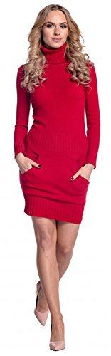 Glamour Empire. Donna Vestito maglia aderente con tasca frontale collo alto 178 Rosso