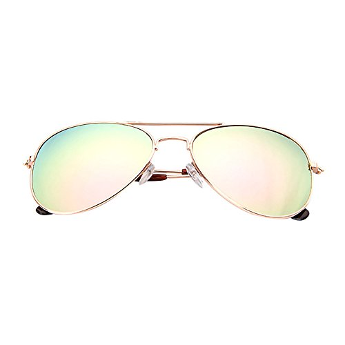 KUDICO Sonnenbrille Unisex Kinder Brillen Verspiegelt Linse Reflektierende Pilotenbrille UV400 Schutz Metall Rahmen Fliegerbrille (C, One Size)