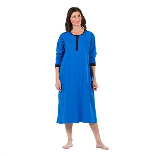 Preisvergleich Produktbild 4Care Pflege Nachthemd, für Damen und Herren, Jersey, mit offenem Rücken, Klettverschluss vorne und Druckknöpfe im Nacken, 251 Blau, Größe XXL