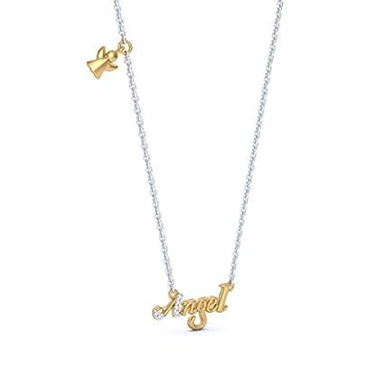 BlueStone 14k (585) Yellow Gold and Diamond Angel Script Chain Necklace