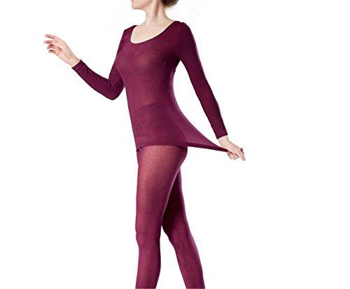 hippolo Damen Rundhalsausschnitt Top & Bottom Ultra Dünn Thermo-Unterwäsche (One Size) burgunderrot