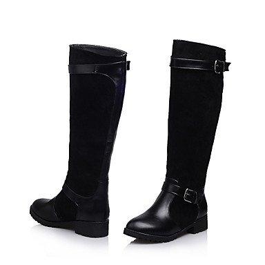 Wuyulunbi@ Scarpe Donna Inverno Ride Stivali Stivali Scarpe Piatte Ginocchio Alti Stivali Tempo Libero Outdoor Marrone Nero Noi6.5-7 / EU37 / UK4,5-5 / CN37