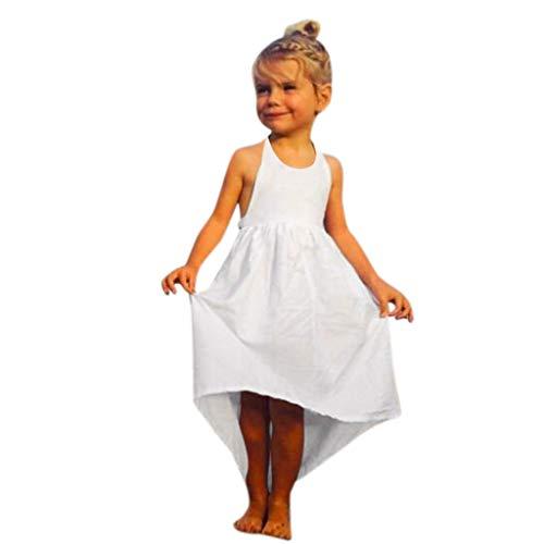 AIni Baby MäDchen Kleidung, Sommer Mode Elegant Kleinkind Baby MäDchen äRmellose Feste Weste Kleid RüCkenfreie Kleider Kleidung BeiläUfiges Strand Festlich Partykleid(120,Weiß)