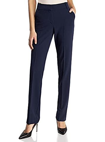 oodji Collection Women's Classic Straight-Fit Trousers, Blue, UK 12 /